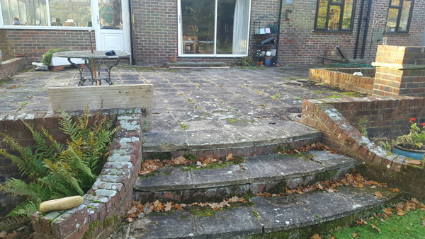 Before shot of patio and steps at Broadlands,Keymer Road,Burgess hill