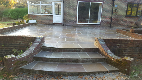 After shot of patio and steps at Broadlands,Keymer Road,Burgess hill
