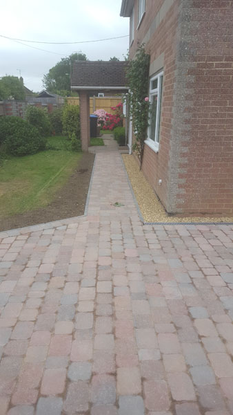 A conrete drive and path that was taken up and paved in Janes Lane, Burgess Hill