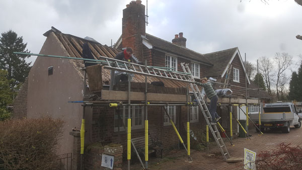 A new roof that was insulated at Paynes Farm, Hurstpierpoint