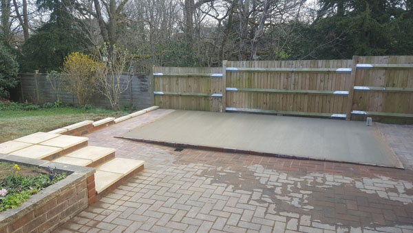 A wall, steps and concrete base was laid in Challow Close, Hassocks