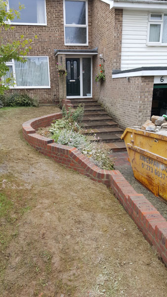 New steps and retaining wall in Romaine Close, Burgess Hill