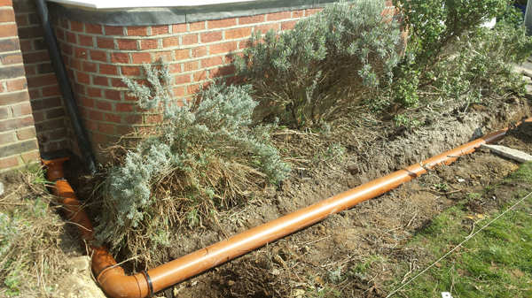 New drainage for rainwater at a property in Grand Avenue in Hassocks